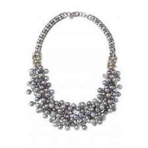 Stella & Dot Isadora Hematite Pearl Bib Necklace